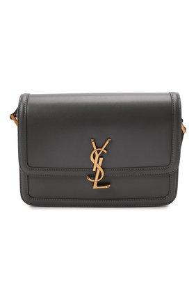 Женская сумка solferino ysl lock SAINT LAURENT темно-серого цвета, арт. 634305/0SX0W | Фото 1 (Материал: Натуральная кожа; Сумки-технические: Сумки через плечо; Размер: small)
