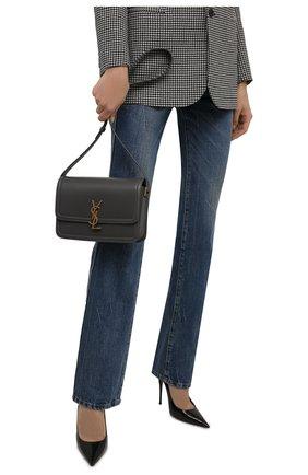 Женская сумка solferino ysl lock SAINT LAURENT темно-серого цвета, арт. 634305/0SX0W | Фото 2 (Материал: Натуральная кожа; Сумки-технические: Сумки через плечо; Размер: small)