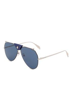 Женские солнцезащитные очки ALEXANDER MCQUEEN синего цвета, арт. AM0316S 004 | Фото 1 (Тип очков: С/з; Материал: Металл; Оптика Гендер: оптика-унисекс; Очки форма: Авиаторы)