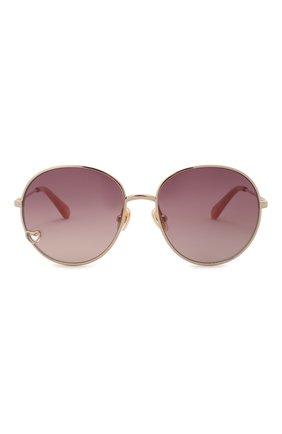 Детские солнцезащитные очки CHLOÉ розового цвета, арт. CC0006S 001   Фото 2 (Материал: Текстиль, Синтетический материал, Металл)
