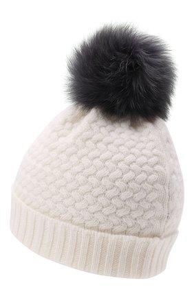 Детского кашемировая шапка GIORGETTI CASHMERE кремвого цвета, арт. MB1825/8A | Фото 2 (Материал: Шерсть, Кашемир)