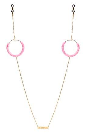 Женские цепочка для очков FRAME CHAIN розового цвета, арт. CANDY P0P BABY PINK IN YELL0W G0LD   Фото 1 (Тип очков: Цепочка; Оптика Гендер: оптика-женское)