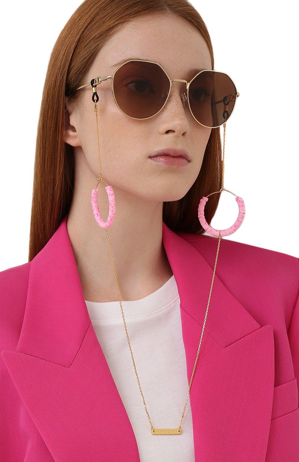Женские цепочка для очков FRAME CHAIN розового цвета, арт. CANDY P0P BABY PINK IN YELL0W G0LD   Фото 2 (Тип очков: Цепочка; Оптика Гендер: оптика-женское)