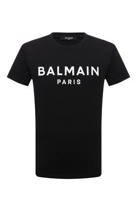Мужская хлопковая футболка BALMAIN черного цвета, арт. WH0EF000/B151   Фото 1 (Материал внешний: Хлопок; Принт: С принтом; Рукава: Короткие; Стили: Панк; Длина (для топов): Стандартные)