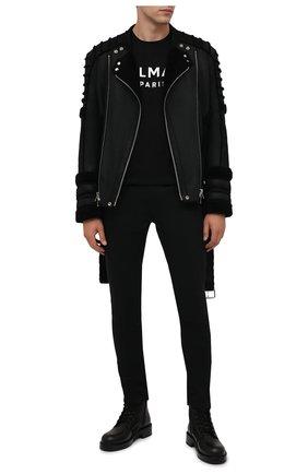 Мужская хлопковая футболка BALMAIN черного цвета, арт. WH0EF000/B151   Фото 2 (Материал внешний: Хлопок; Принт: С принтом; Рукава: Короткие; Стили: Панк; Длина (для топов): Стандартные)