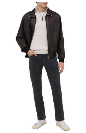 Мужские джинсы LORO PIANA серого цвета, арт. FAL9481 | Фото 2 (Материал внешний: Хлопок; Материал подклада: Хлопок; Кросс-КТ: Деним; Силуэт М (брюки): Прямые; Стили: Кэжуэл; Длина (брюки, джинсы): Стандартные)