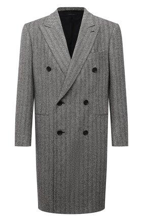 Мужской шерстяное пальто BRIONI серого цвета, арт. R0QY0L/01A2H | Фото 1 (Рукава: Длинные; Материал внешний: Шерсть; Материал подклада: Купро; Длина (верхняя одежда): До колена; Мужское Кросс-КТ: пальто-верхняя одежда; Стили: Кэжуэл)