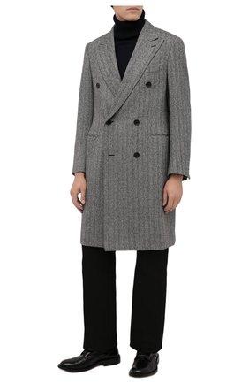 Мужской шерстяное пальто BRIONI серого цвета, арт. R0QY0L/01A2H | Фото 2 (Рукава: Длинные; Материал внешний: Шерсть; Материал подклада: Купро; Длина (верхняя одежда): До колена; Мужское Кросс-КТ: пальто-верхняя одежда; Стили: Кэжуэл)