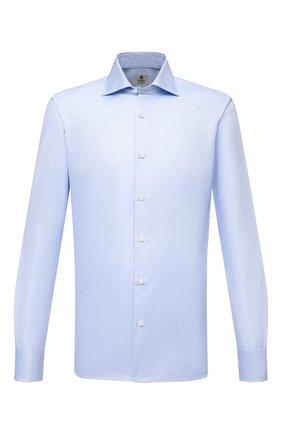 Мужская хлопковая сорочка LUIGI BORRELLI голубого цвета, арт. PS30058/LUCIAN0/ST/DR/PC | Фото 1 (Материал внешний: Хлопок; Рукава: Длинные; Случай: Формальный; Рубашки М: Super Slim Fit; Манжеты: На пуговицах; Воротник: Акула; Принт: Однотонные; Стили: Классический; Длина (для топов): Стандартные)