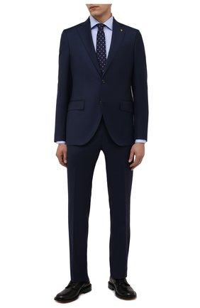 Мужская хлопковая сорочка LUIGI BORRELLI голубого цвета, арт. PS30058/LUCIAN0/ST/DR/PC | Фото 2 (Материал внешний: Хлопок; Рукава: Длинные; Случай: Формальный; Рубашки М: Super Slim Fit; Манжеты: На пуговицах; Воротник: Акула; Принт: Однотонные; Стили: Классический; Длина (для топов): Стандартные)