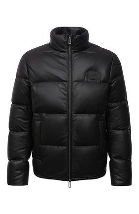 Мужская кожаная куртка EMPORIO ARMANI черного цвета, арт. B1R10P/B1P10 | Фото 1 (Материал подклада: Синтетический материал; Материал утеплителя: Пух и перо; Длина (верхняя одежда): Короткие; Рукава: Длинные; Кросс-КТ: Куртка; Стили: Кэжуэл; Мужское Кросс-КТ: пуховик-короткий, Кожа и замша)