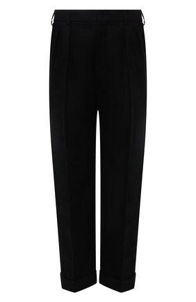 Мужские шерстяные брюки SAINT LAURENT черного цвета, арт. 653846/Y1D08   Фото 1 (Материал внешний: Шерсть; Материал подклада: Шелк; Длина (брюки, джинсы): Стандартные; Случай: Повседневный; Стили: Минимализм)