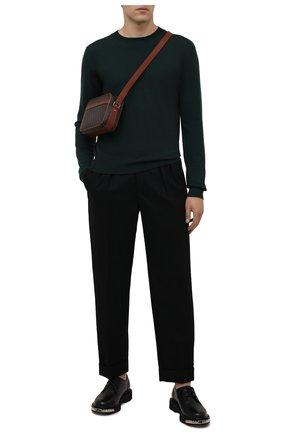 Мужские шерстяные брюки SAINT LAURENT черного цвета, арт. 653846/Y1D08   Фото 2 (Материал внешний: Шерсть; Материал подклада: Шелк; Длина (брюки, джинсы): Стандартные; Случай: Повседневный; Стили: Минимализм)