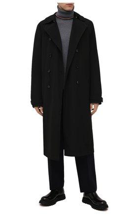 Мужской шерстяная водолазка MONCLER серого цвета, арт. G2-091-9F000-03-M1131 | Фото 2 (Материал внешний: Шерсть; Мужское Кросс-КТ: Водолазка-одежда; Стили: Кэжуэл; Принт: Без принта; Рукава: Длинные; Длина (для топов): Стандартные)