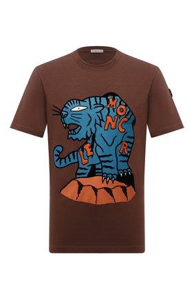 Мужская хлопковая футболка MONCLER коричневого цвета, арт. G2-091-8C000-48-8390T | Фото 1 (Материал внешний: Хлопок; Длина (для топов): Стандартные; Рукава: Короткие; Принт: С принтом; Стили: Спорт-шик)