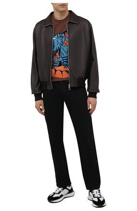 Мужская хлопковая футболка MONCLER коричневого цвета, арт. G2-091-8C000-48-8390T | Фото 2 (Материал внешний: Хлопок; Длина (для топов): Стандартные; Рукава: Короткие; Принт: С принтом; Стили: Спорт-шик)