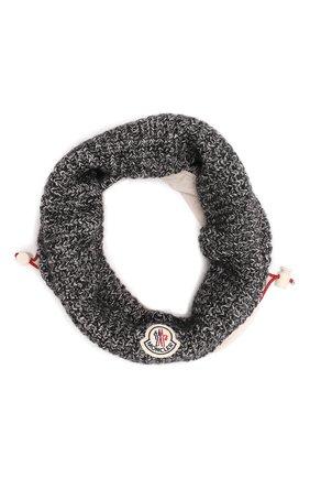 Мужской шерстяной шарф-снуд MONCLER серого цвета, арт. G2-091-3G000-03-M1256 | Фото 1 (Материал: Шерсть; Кросс-КТ: шерсть)