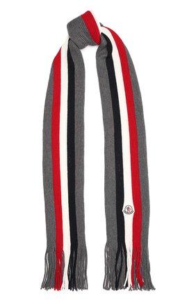 Мужской шерстяной шарф MONCLER темно-серого цвета, арт. G2-091-3C000-07-A9575 | Фото 1 (Материал: Шерсть; Кросс-КТ: шерсть)