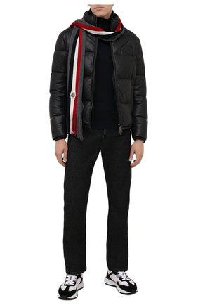 Мужской шерстяной шарф MONCLER темно-серого цвета, арт. G2-091-3C000-07-A9575 | Фото 2 (Материал: Шерсть; Кросс-КТ: шерсть)