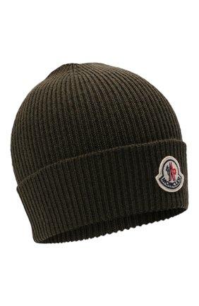 Мужская шерстяная шапка MONCLER хаки цвета, арт. G2-091-3B705-00-A9342   Фото 1 (Материал: Шерсть; Кросс-КТ: Трикотаж)