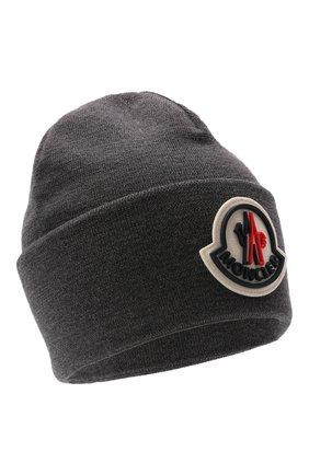 Мужская шерстяная шапка MONCLER темно-серого цвета, арт. G2-091-3B000-51-A9526 | Фото 1 (Материал: Шерсть; Кросс-КТ: Трикотаж)