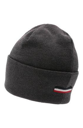 Мужская шерстяная шапка MONCLER темно-серого цвета, арт. G2-091-3B000-51-A9526 | Фото 2 (Материал: Шерсть; Кросс-КТ: Трикотаж)