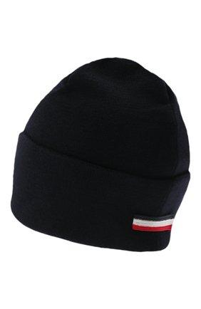 Мужская шерстяная шапка MONCLER темно-синего цвета, арт. G2-091-3B000-51-A9526   Фото 2 (Материал: Шерсть; Кросс-КТ: Трикотаж)