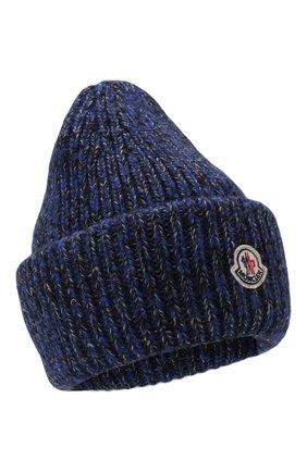 Мужская шапка из шерсти и кашемира MONCLER темно-синего цвета, арт. G2-091-3B000-49-M1209   Фото 1 (Материал: Шерсть; Кросс-КТ: Трикотаж)