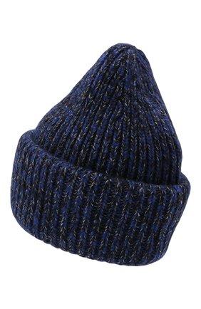 Мужская шапка из шерсти и кашемира MONCLER темно-синего цвета, арт. G2-091-3B000-49-M1209   Фото 2 (Материал: Шерсть; Кросс-КТ: Трикотаж)