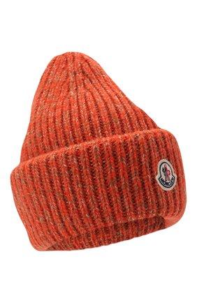 Мужская шапка из шерсти и кашемира MONCLER оранжевого цвета, арт. G2-091-3B000-49-M1209 | Фото 1 (Материал: Шерсть; Кросс-КТ: Трикотаж)
