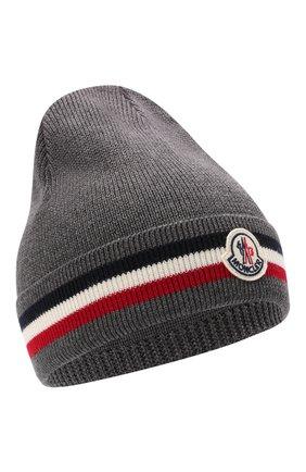 Мужская шерстяная шапка MONCLER темно-серого цвета, арт. G2-091-3B000-28-A9575 | Фото 1 (Материал: Шерсть; Кросс-КТ: Трикотаж)