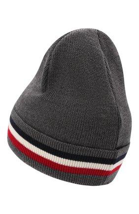 Мужская шерстяная шапка MONCLER темно-серого цвета, арт. G2-091-3B000-28-A9575 | Фото 2 (Материал: Шерсть; Кросс-КТ: Трикотаж)