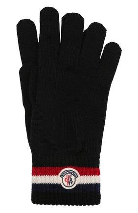 Мужские шерстяные перчатки MONCLER черного цвета, арт. G2-091-3A000-04-A9575 | Фото 1 (Материал: Шерсть; Кросс-КТ: Трикотаж)