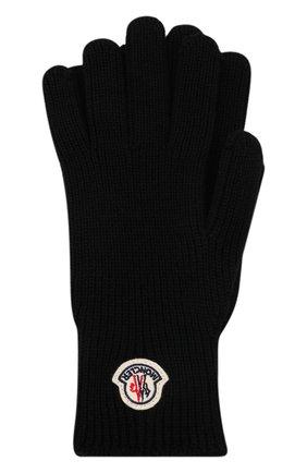 Мужские шерстяные перчатки MONCLER черного цвета, арт. G2-091-3A000-03-A9342 | Фото 1 (Материал: Шерсть; Кросс-КТ: Трикотаж)