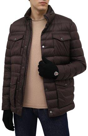 Мужские шерстяные перчатки MONCLER черного цвета, арт. G2-091-3A000-03-A9342 | Фото 2 (Материал: Шерсть; Кросс-КТ: Трикотаж)