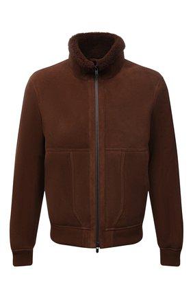 Мужская дубленка Z ZEGNA коричневого цвета, арт. VY093/ZZ950 | Фото 1 (Длина (верхняя одежда): Короткие; Материал внешний: Натуральный мех; Рукава: Длинные; Стили: Кэжуэл)