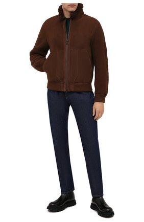 Мужская дубленка Z ZEGNA коричневого цвета, арт. VY093/ZZ950 | Фото 2 (Длина (верхняя одежда): Короткие; Материал внешний: Натуральный мех; Рукава: Длинные; Стили: Кэжуэл)