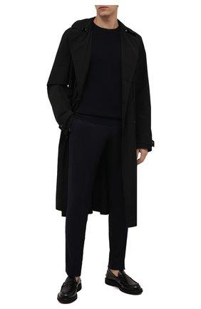 Мужские брюки из шерсти и шелка ERMENEGILDO ZEGNA темно-синего цвета, арт. UVI20/TT18 | Фото 2 (Длина (брюки, джинсы): Стандартные; Материал внешний: Шерсть; Случай: Повседневный; Стили: Кэжуэл)