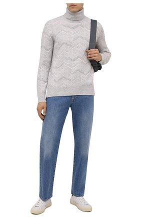 Мужской свитер из кашемира и шерсти ERMENEGILDO ZEGNA светло-серого цвета, арт. UYF69/120 | Фото 2 (Материал внешний: Шерсть, Кашемир; Длина (для топов): Стандартные; Рукава: Длинные; Мужское Кросс-КТ: Свитер-одежда; Стили: Кэжуэл; Принт: Без принта)