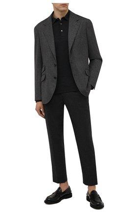 Мужские брюки из шерсти и кашемира ERMENEGILDO ZEGNA темно-серого цвета, арт. UYI16/TP22 | Фото 2 (Материал внешний: Шерсть; Длина (брюки, джинсы): Стандартные; Случай: Повседневный; Стили: Кэжуэл)
