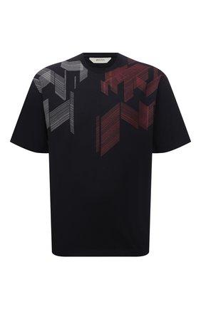 Мужская хлопковая футболка Z ZEGNA темно-синего цвета, арт. VY367/ZZ6510 | Фото 1 (Материал внешний: Хлопок; Принт: С принтом; Рукава: Короткие; Стили: Кэжуэл; Длина (для топов): Стандартные)