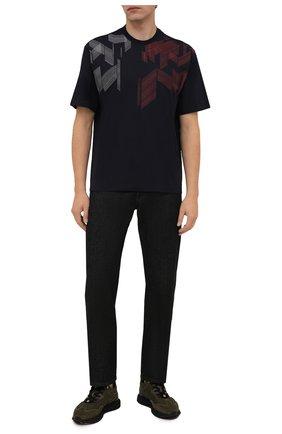 Мужская хлопковая футболка Z ZEGNA темно-синего цвета, арт. VY367/ZZ6510 | Фото 2 (Материал внешний: Хлопок; Принт: С принтом; Рукава: Короткие; Стили: Кэжуэл; Длина (для топов): Стандартные)