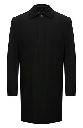 Мужской утепленный плащ Z ZEGNA черного цвета, арт. 254730/4GS6G0   Фото 1 (Рукава: Длинные; Материал подклада: Синтетический материал; Материал внешний: Шерсть; Длина (верхняя одежда): До середины бедра; Мужское Кросс-КТ: Плащ-верхняя одежда; Стили: Классический)
