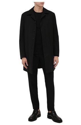 Мужской утепленный плащ Z ZEGNA черного цвета, арт. 254730/4GS6G0   Фото 2 (Рукава: Длинные; Материал подклада: Синтетический материал; Материал внешний: Шерсть; Длина (верхняя одежда): До середины бедра; Мужское Кросс-КТ: Плащ-верхняя одежда; Стили: Классический)