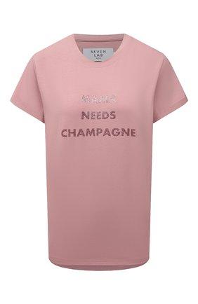 Женская хлопковая футболка SEVEN LAB красного цвета, арт. T-MNC-GPG misty rose   Фото 1 (Материал внешний: Хлопок; Длина (для топов): Стандартные; Рукава: Короткие; Женское Кросс-КТ: Футболка-одежда; Принт: С принтом; Стили: Кэжуэл)