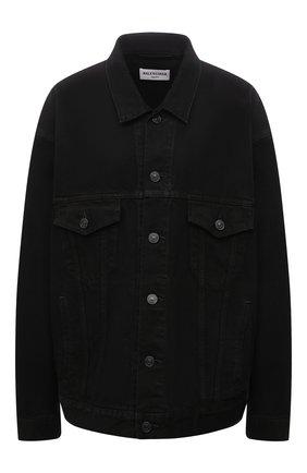 Женская джинсовая куртка BALENCIAGA черного цвета, арт. 675206/TEW05 | Фото 1 (Длина (верхняя одежда): Короткие; Рукава: Длинные; Материал внешний: Хлопок; Кросс-КТ: Куртка, Деним; Стили: Гранж)