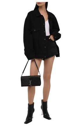 Женская джинсовая куртка BALENCIAGA черного цвета, арт. 675206/TEW05 | Фото 2 (Длина (верхняя одежда): Короткие; Рукава: Длинные; Материал внешний: Хлопок; Кросс-КТ: Куртка, Деним; Стили: Гранж)