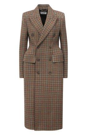 Женское шерстяное пальто BALENCIAGA темно-бежевого цвета, арт. 479864/TLU23 | Фото 1 (Материал внешний: Шерсть; Длина (верхняя одежда): Длинные; Рукава: Длинные; Материал подклада: Купро; 1-2-бортные: Двубортные; Стили: Кэжуэл)