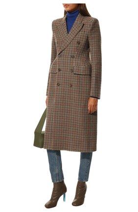 Женское шерстяное пальто BALENCIAGA темно-бежевого цвета, арт. 479864/TLU23 | Фото 2 (Материал внешний: Шерсть; Длина (верхняя одежда): Длинные; Рукава: Длинные; Материал подклада: Купро; 1-2-бортные: Двубортные; Стили: Кэжуэл)