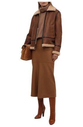 Женская дубленка из овчины SAINT LAURENT коричневого цвета, арт. 668696/YCFH2   Фото 2 (Материал внешний: Натуральный мех; Рукава: Длинные; Длина (верхняя одежда): Короткие; Стили: Гранж)